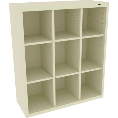 """Tennsco Cubby Locker CC-40-CPY - Welded 34-1/2""""W x 13-1/2""""D x 40""""H 9 Compartments Champagne/Putty"""