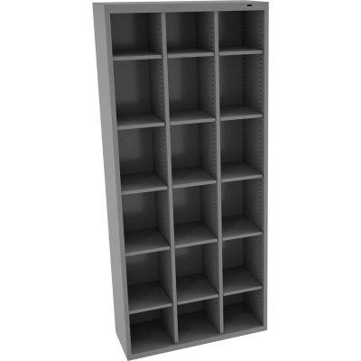 "Tennsco 18 Door Welded Cubby Locker, 34-1/2""Wx13-1/2""Dx78""H, Medium Gray, Assembled"