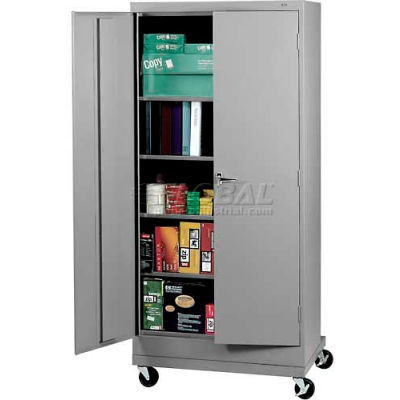 "Tennsco Mobile Deluxe Storage Cabinet CK7824-MGY - Welded 36""W X 24""D X 78-3/4"" H, Medium Grey"