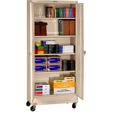 "Tennsco Mobile Deluxe Storage Cabinet CK7824-SND - Welded 36""W X 24""D X 78-3/4"" H, Sand"