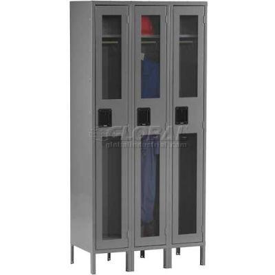Tennsco C-Thru Locker CSL-121572-3-CPY - Single Tier w/Legs 3 Wide, 12 x 15 x 72, Assembled, Putty