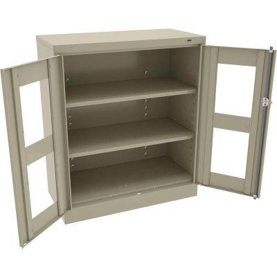 "Tennsco C-Thru Standard Counter Height Cabinet CVD1442-SND - Unassembled, 36""W X 18""D X 42""H, Sand"