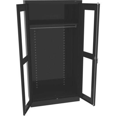"""Tennsco C-Thru Standard Wardrobe Cabinet CVD1471-BLK - Unassembled 36""""W X 18""""D X 72""""H, Black"""
