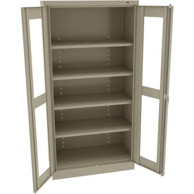 """Tennsco C-Thru Standard Storage Cabinet CVD1480-SND - Unassembled, 36""""W X 24""""D X 72""""H, Sand"""