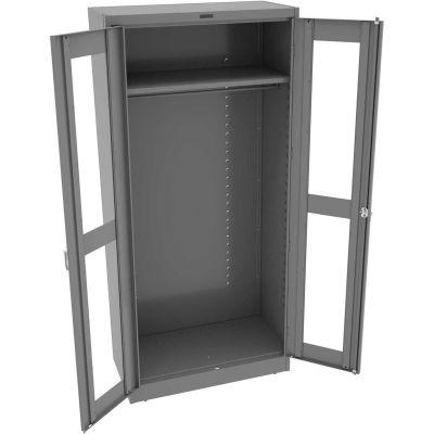 "Tennsco C-Thru Deluxe Wardrobe Cabinet CVD1871-MGY - Unassembled 36""W X 18""D X 78""H, Medium Grey"