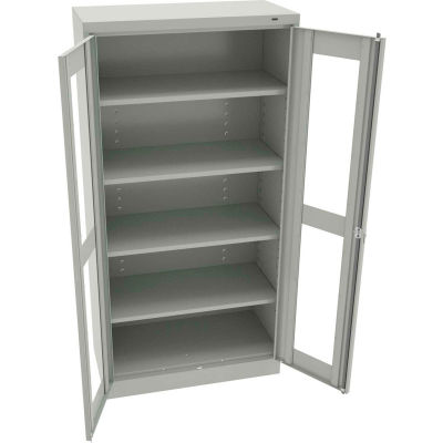 "Tennsco C-Thru Standard Storage Cabinet CVD7218-LGY - Welded 36""W X 18""D X 72""H, Light Grey"
