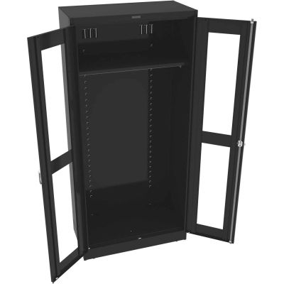 "Tennsco C-Thru Deluxe Wardrobe Cabinet CVD7818W-BLK - Welded 36""W X 18""D X 78""H, Black"