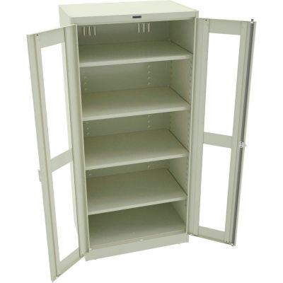 "Tennsco C-Thru Deluxe Storage Cabinet CVD7824-CPY - Welded 36""W X 24""D X 78""H, Champagne Putty"