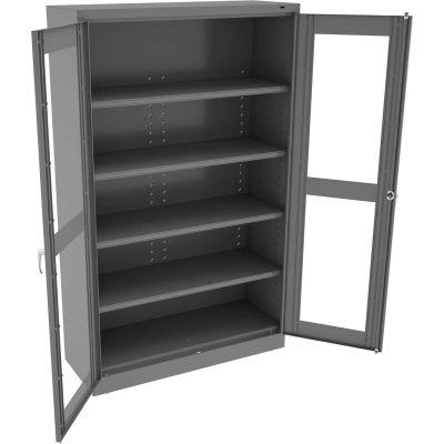 "Tennsco C-Thru Jumbo Storage Cabinet CVDJ1878A-N-MGY - Unassembled  48""W X 18""D X 78""H, Medium Grey"