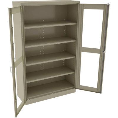 """Tennsco C-Thru Jumbo Storage Cabinet CVDJ2478A-N-SND - Unassembled 48""""W X 24""""D X 78""""H, Sand"""
