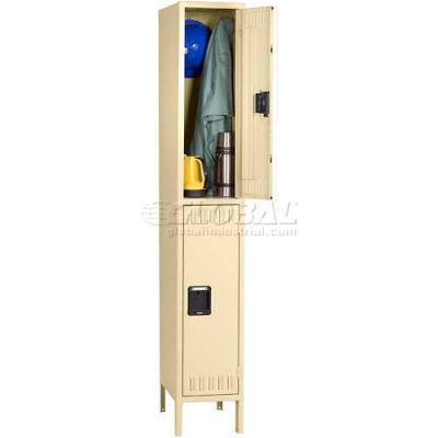 Tennsco Steel Locker DTK-121530-1-LGY - Double Tier w/Legs 1 Wide12x15x30, Unassembled, Light Grey