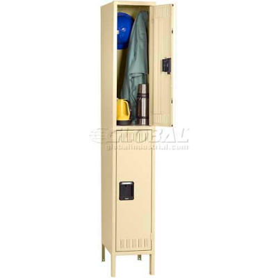"Tennsco Double Tier 2 Door Steel Locker W/Legs, Recessed Handle, 12""Wx15""Dx30""H, Putty, Unassembled"