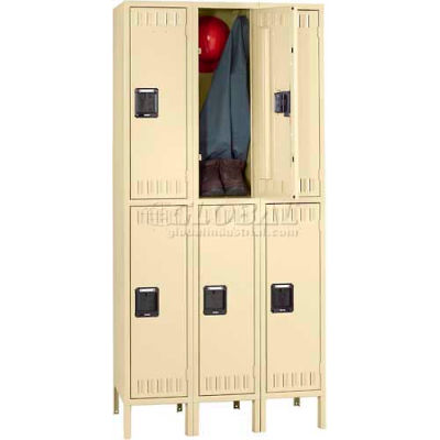 Tennsco Steel Locker DTK-121530-3-MGY - Double Tier w/Legs 3 Wide12x15x30, Unassembled, Medium Grey