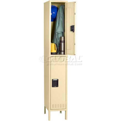 Tennsco Steel Locker DTK-121830-1-MGY - Double Tier w/Legs 1 Wide 12x18x30, Unassembled, Medium Grey