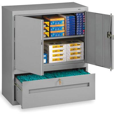 Tennsco Combination Shelf Drawer Cabinet DWR-4218-MGY - 36x18x42 1 Drawer, 2 Shelf, Medium Grey
