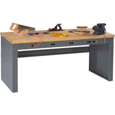 "Tennsco EB-1-3072M Panel Leg Workbench - 4 Outlet Panel, Hardwood Top - 72""W x 30""D x 33-1/2""H"