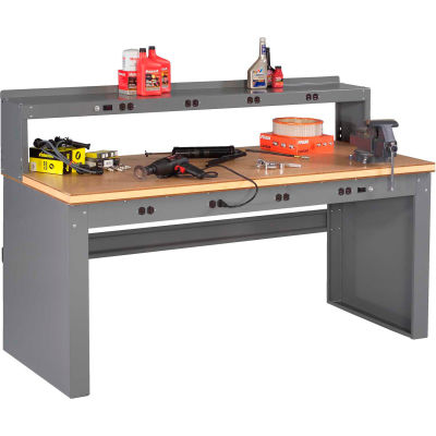 Tennsco EB-2-3072C Panel Leg Workbench - 8 Outlet Panel & Riser, Compressed Wood Top 72x30x47-1/4