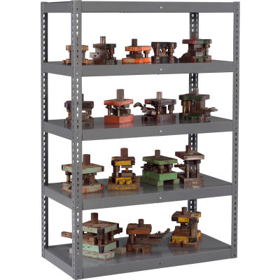 "Global Industrial™ Boltless Heavy Duty Die Rack - 48""W x 18""D x 84""H - 5 Shelves - Medium Gray"