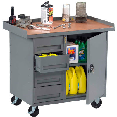 """Tennsco MB-1-2542 Mobile Workstation - 4 Locking Drawers & Cabinet 42""""W x 25""""D x 36-1/4""""H - Gray"""