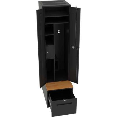 "Tennsco First Response Locker 24""W x 36""D x 90""H Assembled with Drawer Base - Black"