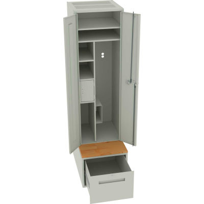 "Tennsco First Response Locker 24""W x 36""D x 90""H Assembled with Drawer Base - Light Gray"