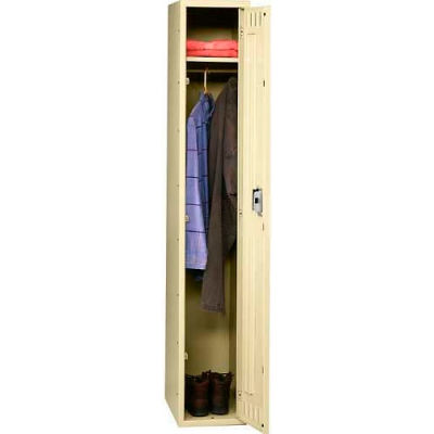 Tennsco Steel Locker STK-121560-A-SND - Single Tier No Legs 1 Wide 12x15x60 Unassembled, Sand