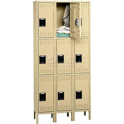 """Tennsco Triple Tier 9 Door Steel Locker W/Legs, Recess Handle, 12""""Wx12""""Dx24""""H, Med Gray, Unassembled"""