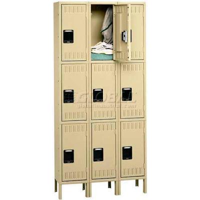 Tennsco Stee Locker TTS-121824-3-LGY - Triple Tier w/Legs 3 Wide 12x18x24 Assembled, Grey