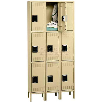 """Tennsco Triple Tier 9 Door Steel Locker W/Legs, Recessed Handle, 12""""Wx18""""Dx24""""H, Sand, Assembled"""