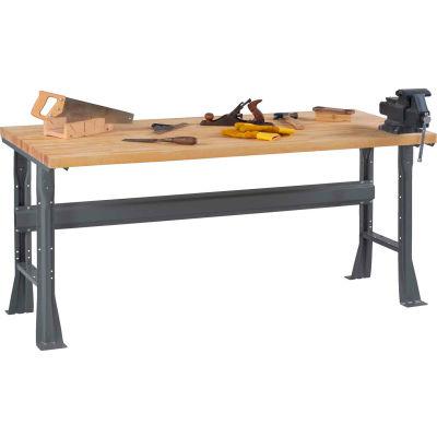 Tennsco WB-1-3660W Flared Leg Fixed Height Workbench- Hardwood Square Edge 60x36x33-3/4 Gray