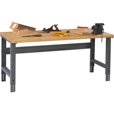 Tennsco WBA-1-3072W C-Channel leg Adjustable Height Workbench - Hardwood Top 72 x 30 x 27-7/8 Gray