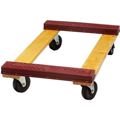 """Fairbanks Hardwood Dolly ED-27-1830-4HR - 30"""" x 18"""" with Rubber Ends - 4"""" Hard Rubber Wheels"""
