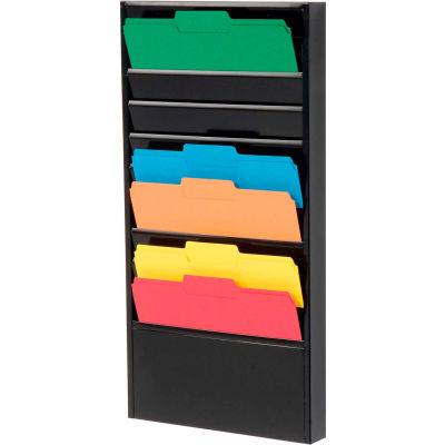 10 Pockets - Medical Chart Hanging Wall File Holder - Black