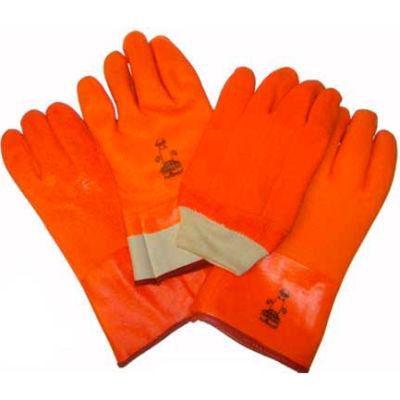 "Foam Lined PVC Gloves, 10 "", Fluorescent Orange, Large"