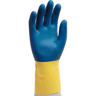 """12"""" Neoprene Over Yellow Latex Gloves, Extra Large"""
