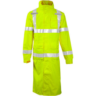 "Tingley® C24122 Icon™ Hooded Coat, Fluorescent Yellow/Green, 48"", XL"