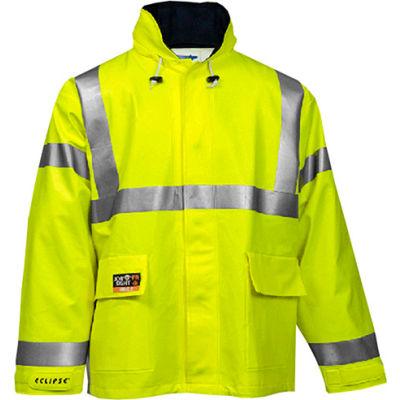 Tingley® Eclipse™ Hi-Visibility FR Hooded Coat, Zipper, Fluorescent Yellow/Green, S