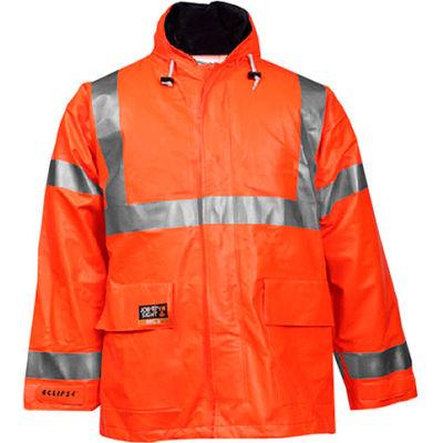 Tingley® Eclipse™ Hi-Visibility FR Hooded Coat, Zipper, Fluorescent Orange/Red, XL