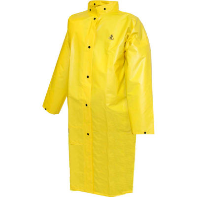 """Tingley® C56207 DuraScrim™ Coat, Yellow, 48"""", 2 Patch Pockets, Hood Snaps, Large"""