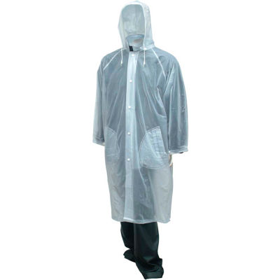 "Tingley® C61210 Tuff-Enuff™ Coat, Clear, 48"", Detachable Hood, 2XL"