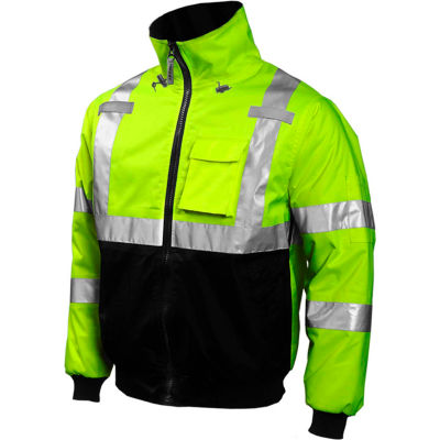 Tingley® J26002 Bomber Hooded Jacket, Fluorescent Yellow/Green/Black, 2XL