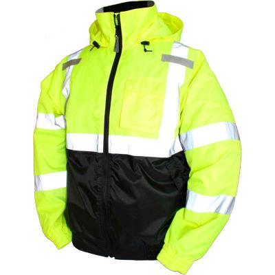 Tingley® J26112 Bomber II Hooded Jacket, Fluorescent Yellow/Green/Black, 3XL