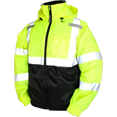 Tingley® J26112 Bomber II Hooded Jacket, Fluorescent Yellow/Green/Black, Medium