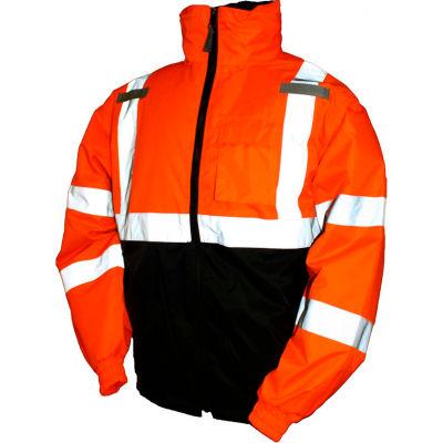 Tingley® J26119 Bomber II Hooded Jacket, Fluorescent Orange/Red/Black, 3XL