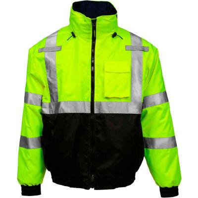 Tingley® Bomber 3.1™ Hi-Vis Hooded Jacket, Zipper, Fluorescent Yellow/Green/Black, 2XL