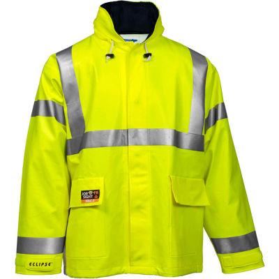Tingley® Eclipse™ Hi-Visibility FR Hooded Jacket, Zipper, Fluorescent Yellow/Green, XL