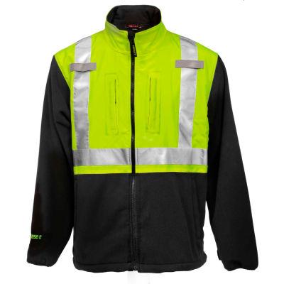 Tingley® Phase 2™ Hi-Vis Jacket, Zipper, Fluorescent Yellow/Green/Charcoal Gray, 2XL