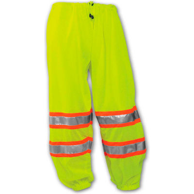 Tingley® P70032 Class E Two-Tone Pants, Fluorescent Lime, Polyester Mesh, S/M