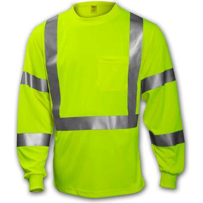 Tingley® S75522 Class 3 Long Sleeve T-Shirt, Fluorescent Yellow/Green, XL