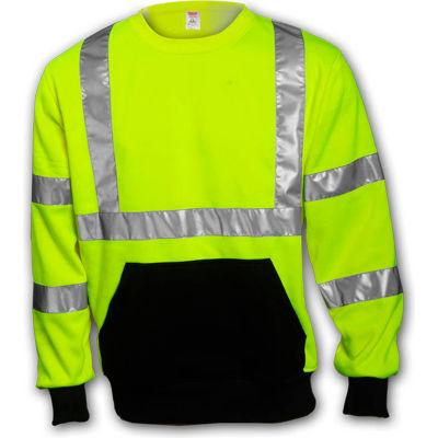 Tingley® S78022 Class 3 Crew Neck Sweatshirt, Fluorescent Lime, 2XL